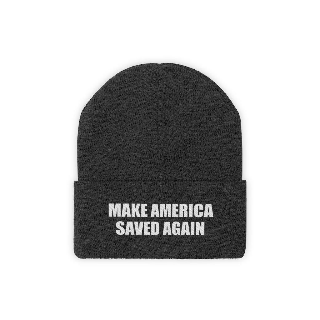 MAKE AMERICA SAVED AGAIN White Text Acrylic Knit Beanie (11 Variants)