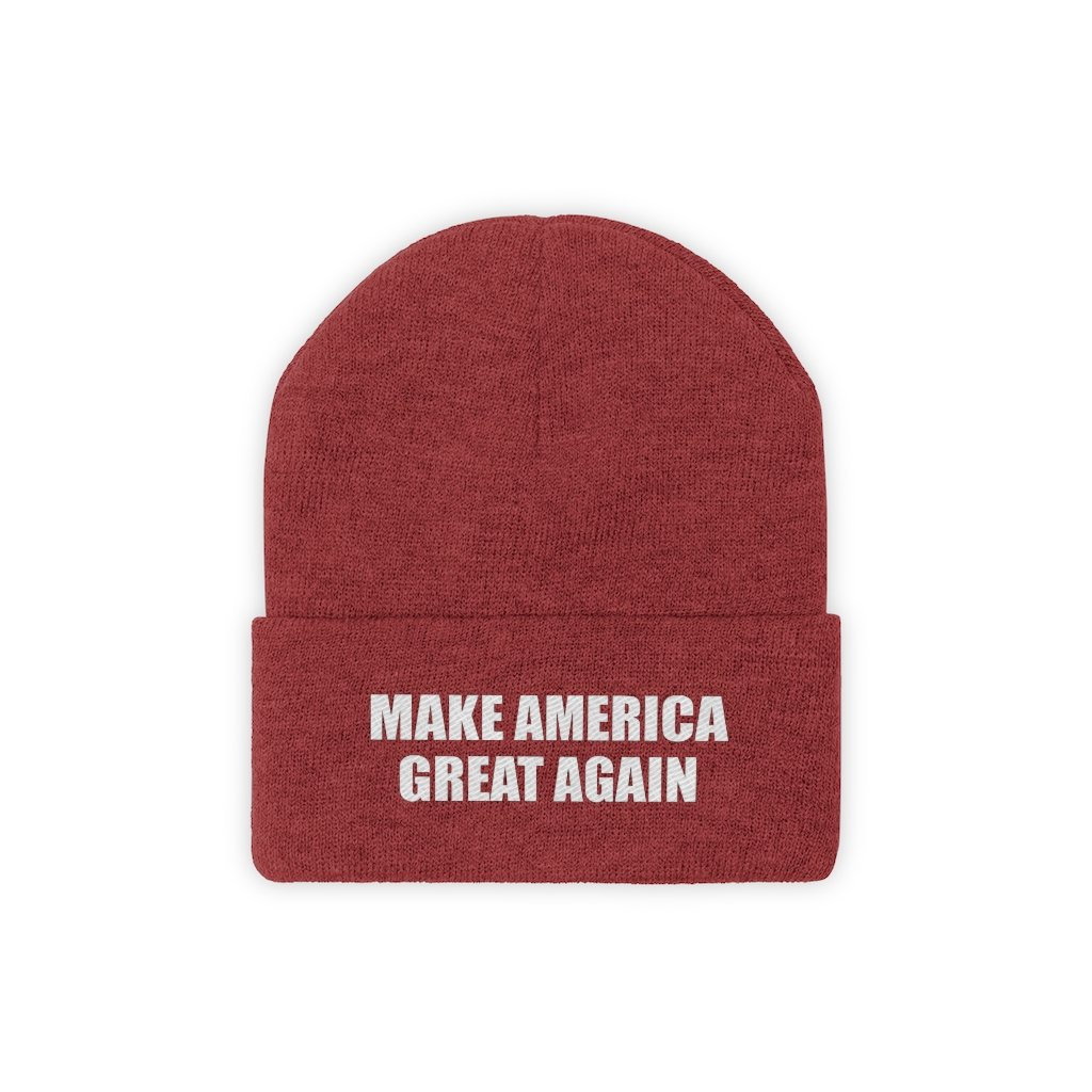 MAKE AMERICA GREAT AGAIN White Text Acrylic Knit Beanie (11 Variants)