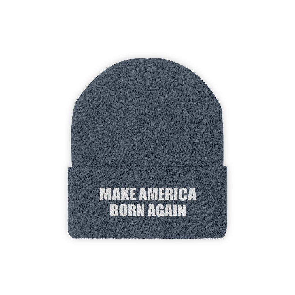 MAKE AMERICA BORN AGAIN White Text Acrylic Knit Beanie (11 Variants)