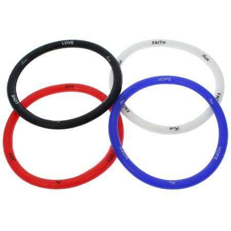 american patriots apparel wristband one size black red white blue joy faith hope love silicone bracelet package of 4 10396 27953079550054