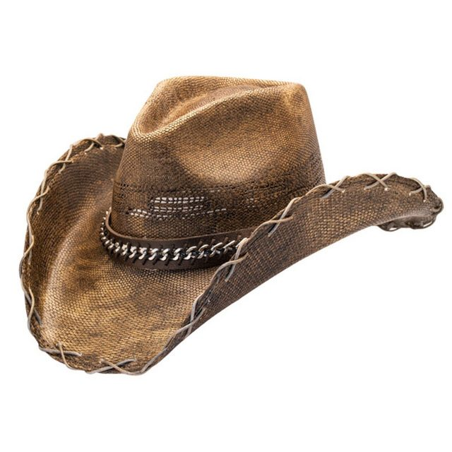 Black Stained Cowboy Hat With Chain Hat Band (4 Sizes)