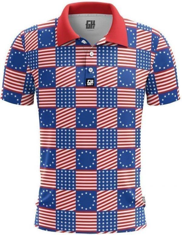 Flag Pattern Polo American Patriots Apparel