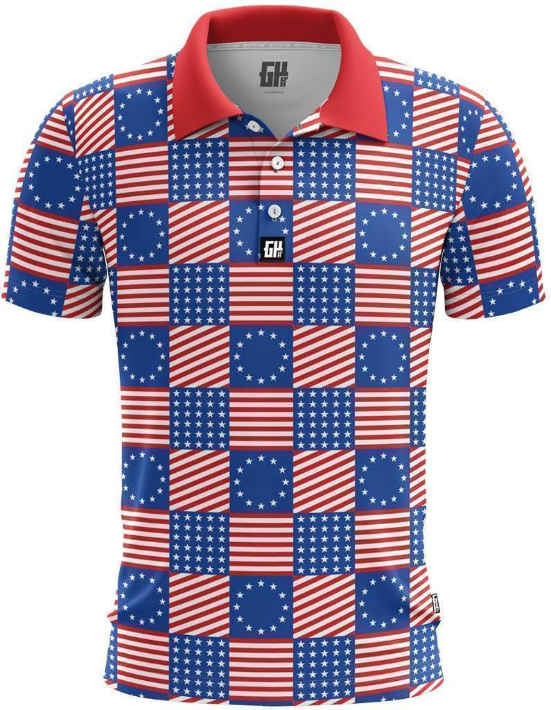Flag Pattern Golf Polo