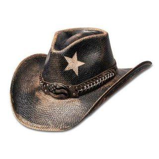 Vintage Black Star USA Panama Straw Cowboy Hat (4 Sizes)