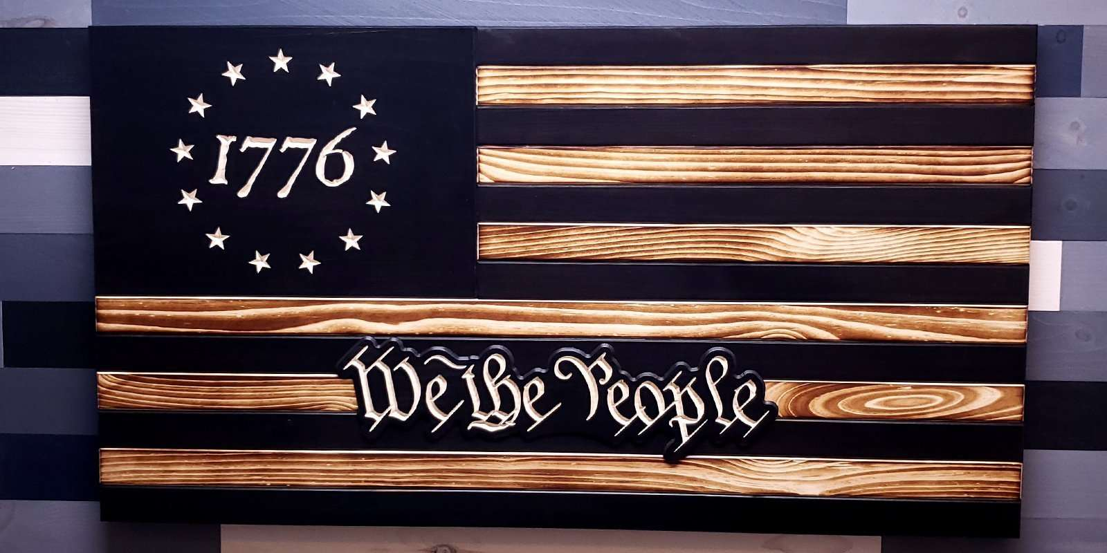 Betsy Ross 1776 We The People Subdued Wooden Flag (5 Sizes)
